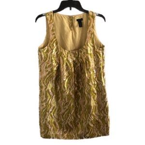 J. CREW Collection gold foil brocade shift dress 4